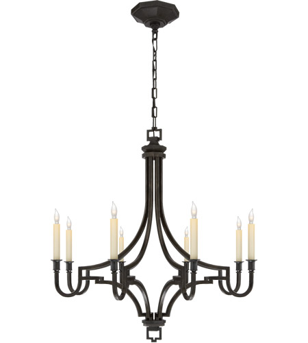 Visual Comfort E.F. Chapman Mykonos 8 Light Chandelier in Aged Iron with Wax CHC1561AI photo