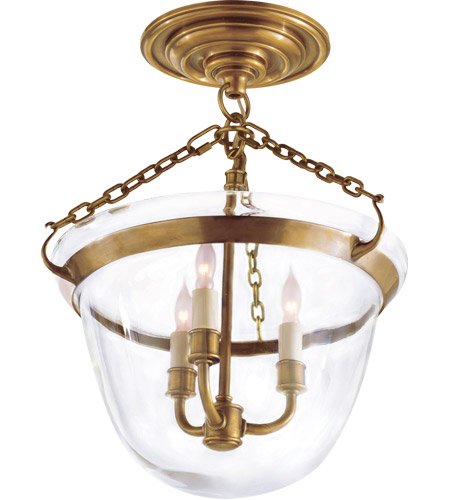 visual comfort chc2109ab e f chapman country 3 light 13 inch brass semiflush ceiling light in antique burnished brass