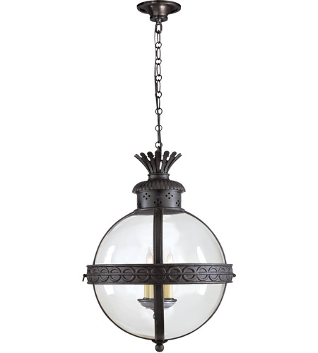 Visual Comfort CHC2111BR-CG E. F. Chapman Crown Top 3 Light 15 inch Hand Painted Blackened Rust Foyer Pendant Ceiling Light in Clear Glass photo