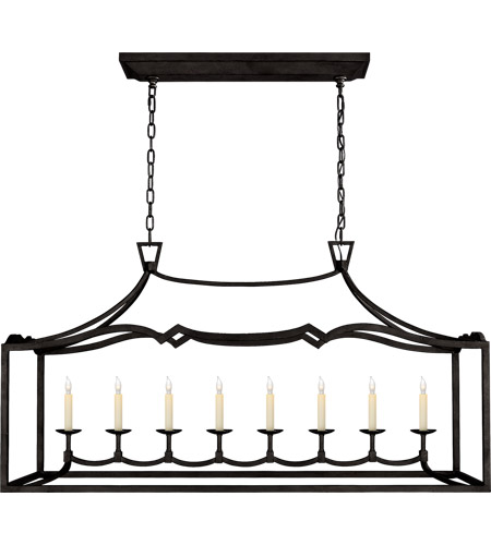 Visual Comfort CHC2183AI E. F. Chapman Fancy Darlana 8 Light 52 inch Aged Iron Linear Pendant Ceiling Light, Large photo