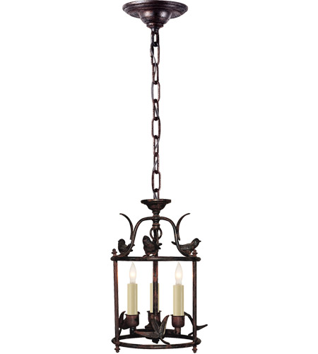 Visual Comfort CHC3109R E. F. Chapman Diego 3 Light 8 inch Hand Painted Rust Finish Foyer Pendant Ceiling Light photo