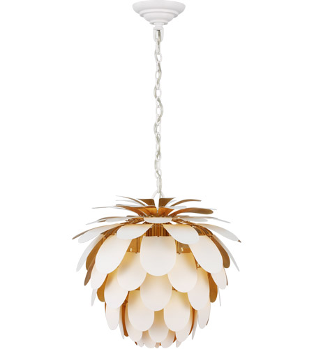Visual Comfort CHC5163WHT/G E. F. Chapman Cynara 1 Light 17 inch White with Gild Chandelier Ceiling Light, Small photo