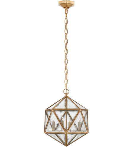 Visual Comfort CHC5201GI-AM E. F. Chapman Zeno 4 Light 16 inch Gilded Iron Pendant Ceiling Light, E.F. Chapman, Medium, 18-Facet Hedron, Lantern, Antique Mirror Glass photo