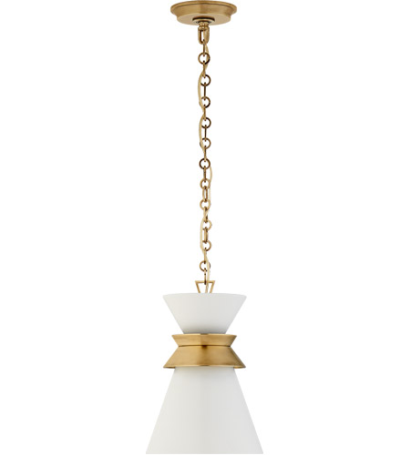 Visual Comfort CHC5240AB-WHT E. F. Chapman Alborg 1 Light 10 inch Antique-Burnished Brass Pendant Ceiling Light in Matte White, Small Stacked photo