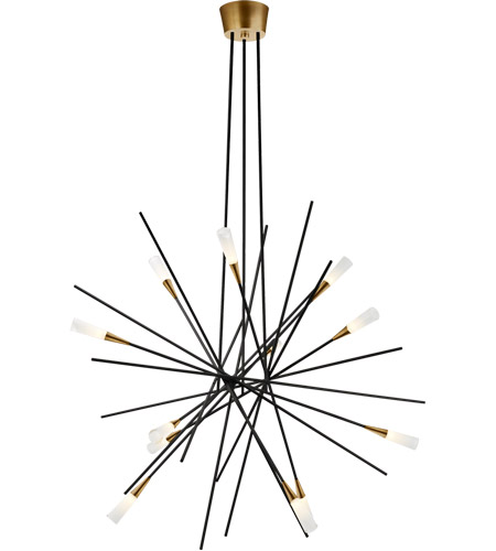Visual Comfort CHC5600BLK Chapman & Myers Stellar LED 40 inch Matte Black and Brass Chandelier Ceiling Light, Large photo