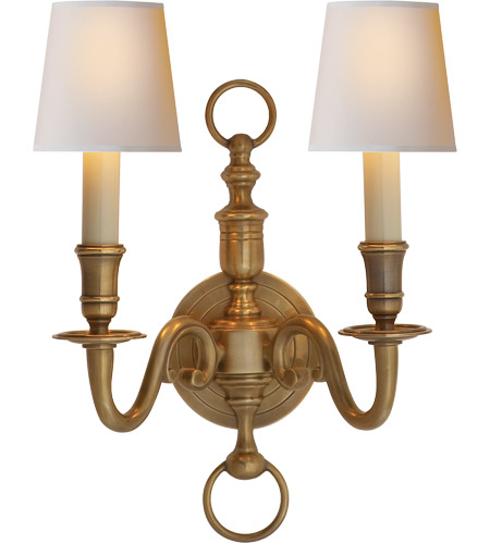 Antique-Burnished Brass Wall Sconces