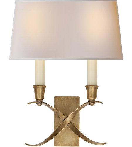 Visual Comfort CHD1190AB-NP E. F. Chapman Cross Bouillotte 2 Light 10 inch Antique-Burnished Brass Decorative Wall Light in Antique Burnished Brass photo