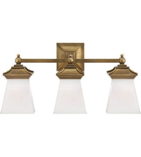 Visual Comfort CHD1517AB-WG E. F. Chapman Chinoiserie 3 Light 21 inch Antique-Burnished Brass Bath Wall Light photo