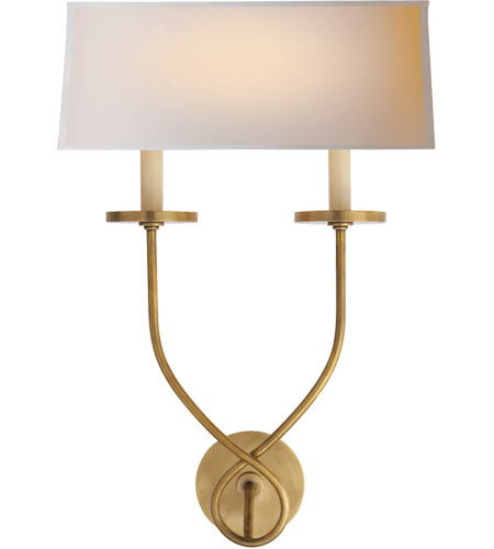 Visual Comfort CHD1612AB-NP E. F. Chapman Symmetric Twist 2 Light 14 inch Antique-Burnished Brass Decorative Wall Light photo