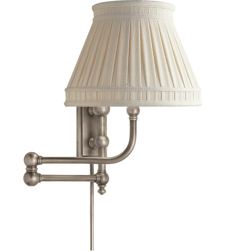 Visual Comfort CHD2154AN-LCC E. F. Chapman Pimlico 25 inch 60 watt Antique Nickel Swing-Arm Wall Light in Linen photo