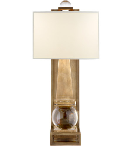 Visual Comfort CHD2262CG/AB-PL E. F. Chapman Paladin 1 Light 11 inch Crystal with Brass Sconce Wall Light in Antique-Burnished Brass, E.F. Chapman, Tall, Obelisk, Natural Percale Shade photo