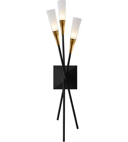 Visual Comfort CHD2602BLK Chapman & Myers Stellar LED 6 inch Matte Black and Brass Triple Tail Sconce Wall Light photo