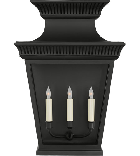 Visual Comfort CHD2955BLK-CG E. F. Chapman Elsinore 3 Light 24 inch Matte Black Outdoor Wall Lantern, Large photo