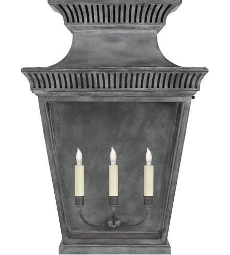 Visual Comfort CHD2960WZ-CG E. F. Chapman Elsinore 3 Light 28 inch Weathered Zinc Outdoor Wall Lantern, Extra Large photo