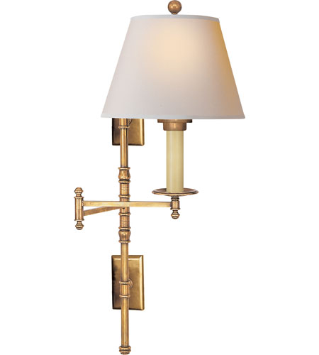 visual comfort chd5102ab np ef chapman dorchester 24 inch 75 watt antique burnished brass brass swing arm wall