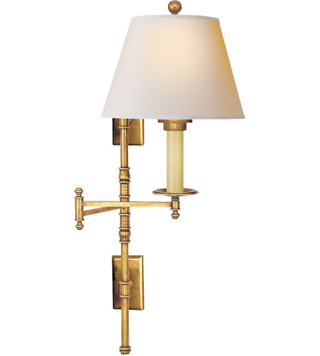 Visual Comfort CHD5102AB-NP E. F. Chapman Dorchester 24 inch 100 watt Antique-Burnished Brass Swing-Arm Wall Light in Natural Paper photo