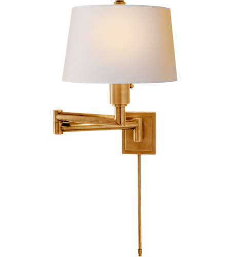 Visual Comfort CHD5106AB-NP E. F. Chapman Chunky 26 inch 100 watt Antique-Burnished Brass Swing-Arm Wall Light in Natural Paper photo