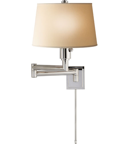 Visual Comfort CHD5106PN-L E.F. Chapman Chunky 26 inch 100 watt Polished Nickel Swing-Arm Wall Light in Linen photo
