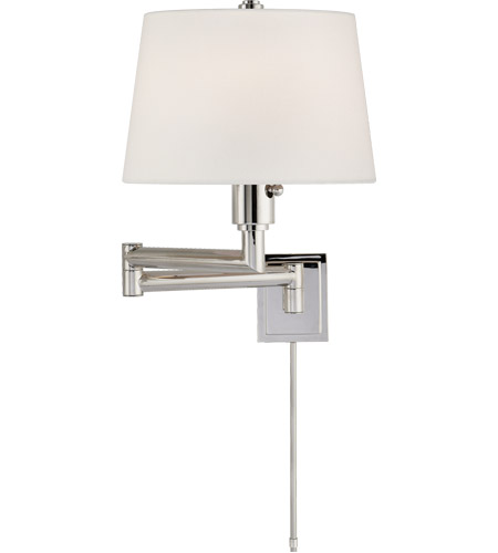 Visual Comfort CHD5106PN-L E. F. Chapman Chunky 26 inch 100 watt Polished Nickel Swing-Arm Wall Light in Linen