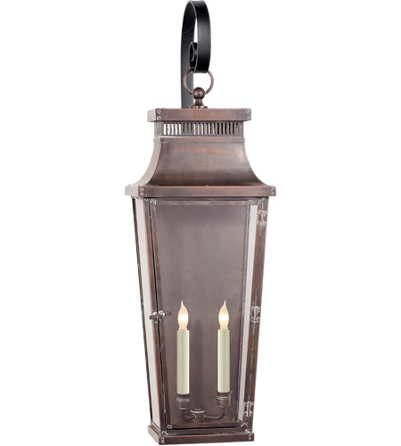 Visual Comfort CHO2305NC-CG E. F. Chapman Emsworth 2 Light 32 inch Natural Copper Outdoor Wall Lantern, E.F. Chapman, Medium, Tapered Scroll Arm, Clear Glass photo