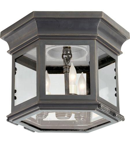 Visual Comfort Cho4110bz Cg E F Chapman Club 3 Light 10 Inch Bronze Outdoor Flush Mount In Clear Glass