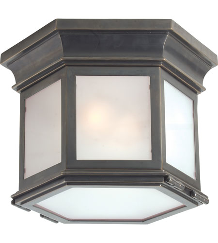 Visual Comfort CHO4110BZ-FG E.F. Chapman Club 3 Light 10 inch Bronze Outdoor Flush Mount in Frosted Glass photo