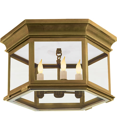Visual Comfort CHO4111AB CG E. F. Chapman Club 3 Light 16 Inch Antique  Brass Outdoor Flush Mount In Clear Glass