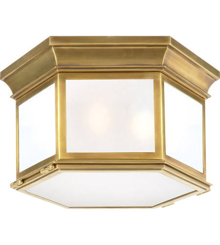 Visual Comfort CHO4111AB-FG E. F. Chapman Club 3 Light 16 inch Antique Brass Outdoor Flush Mount in Frosted Glass photo