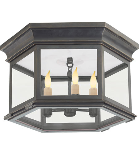 Visual Comfort CHO4111BZ CG E. F. Chapman Club 3 Light 16 Inch Bronze Outdoor  Flush Mount In Clear Glass