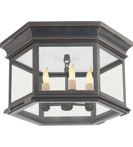 Visual Comfort CHO4111BZ-CG E. F. Chapman Club 3 Light 16 inch Bronze Outdoor  Flush Mount in Clear Glass - Visual Comfort CHO4111BZ-CG E. F. Chapman Club 3 Light 16 Inch