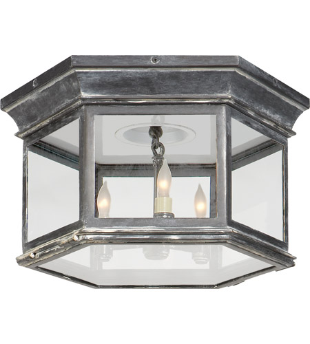 Visual Comfort CHO4111WZ-CG E. F. Chapman Club 3 Light 16 inch Weathered Zinc Outdoor Flush Mount in Clear Glass photo