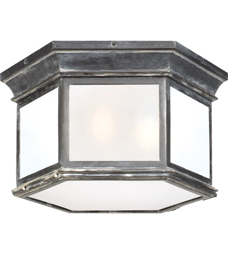 Visual Comfort CHO4111WZ-FG E. F. Chapman Club 3 Light 16 inch Weathered Zinc Outdoor Flush Mount in Frosted Glass photo