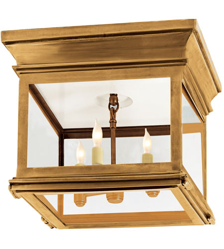 Visual Comfort Chart House Small Club Square Flush Mount in Antique-Burnished Brass with Clear Glass CHO4310AB-CG photo