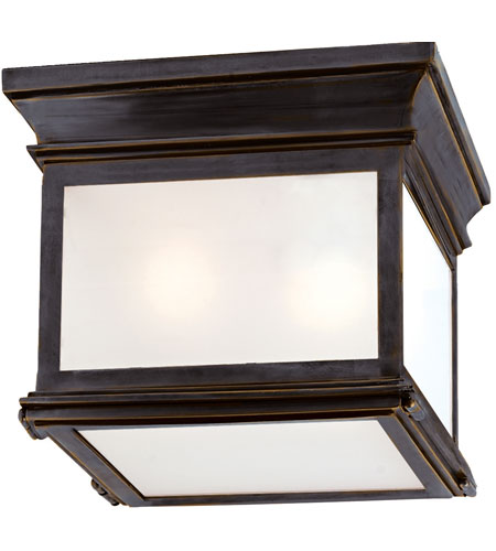 Visual Comfort CHO4310BZ-FG E.F. Chapman Club 3 Light 9 inch Bronze Outdoor Flush Mount in Frosted Glass photo