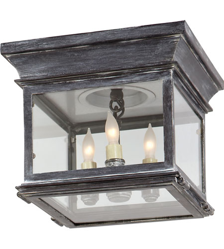 Visual comfort cho4310wz cg e f chapman club 3 light 9 inch visual comfort cho4310wz cg e f chapman club 3 light 9 inch weathered zinc outdoor flush mount in clear glass workwithnaturefo