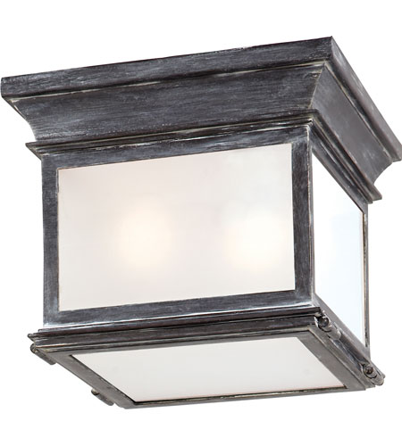 Visual Comfort CHO4310WZ FG E. F. Chapman Club 3 Light 9 Inch Weathered  Zinc Outdoor Flush Mount In Frosted Glass
