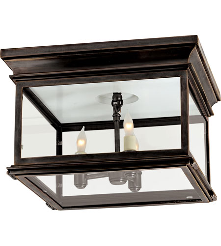 Charming Visual Comfort CHO4311BZ CG E. F. Chapman Club 3 Light 13 Inch Bronze Outdoor  Flush Mount In Clear Glass