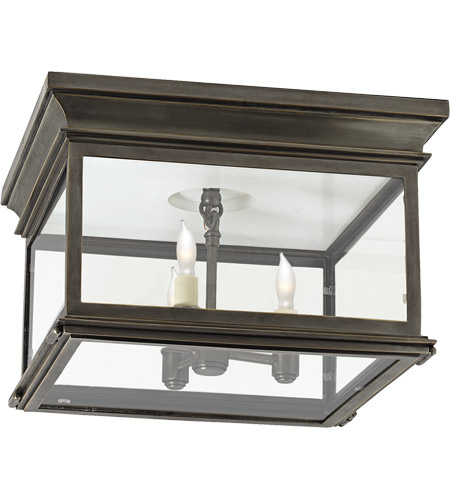 Visual Comfort CHO4311BZ-CG E. F. Chapman Club 3 Light 13 inch Bronze Outdoor Flush Mount in Clear Glass photo