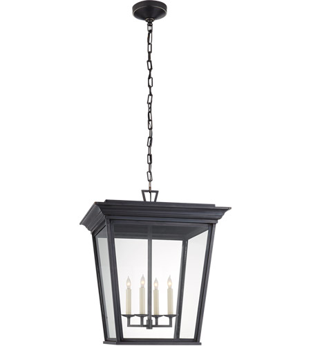 Visual Comfort Cho5522bc Cg E F Chapman Cornice 4 Light 20 Inch Blackened Copper Outdoor Hanging Lantern Large Clear Gl