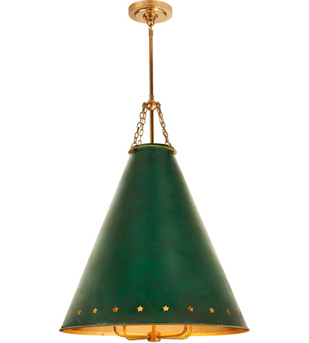 Visual Comfort CS5301NB-DGT Christopher Spitzmiller Hadley 4 Light 24 inch Natural Brass Pendant Ceiling Light in Dark Green Tole photo