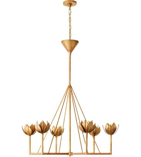 Visual Comfort Jn5004agl Julie Neill Alberto 6 Light 40 Inch Antique Gold Leaf Chandelier Ceiling Light Large Single Tier