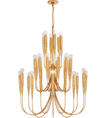 Visual Comfort JN5072AGL Julie Neill Acadia 30 Light 33 inch Antique Gold Leaf Chandelier Ceiling Light, Large photo