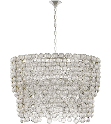 Visual Comfort JN5232BSL/CG Julie Neill Milazzo 12 Light 37 inch Burnished Silver Leaf and Crystal Chandelier Ceiling Light, Large Waterfall photo
