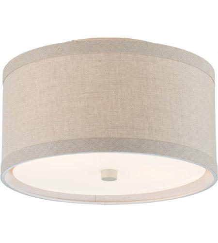 Light Cream Flush Mount Ceiling, 14 Inch Lamp Shade Linen