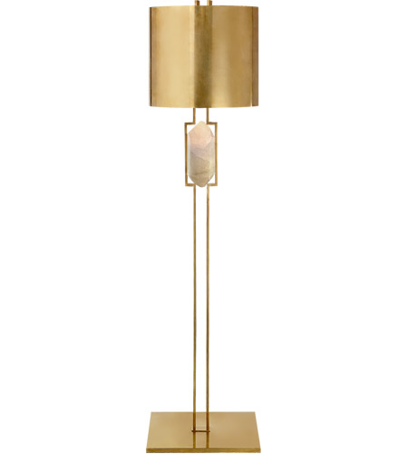 Visual comfort kw1012ab q ab kelly wearstler halcyon 59 inch 75 watt antique burnished brass floor lamp portable light kelly wearstler natural quartz