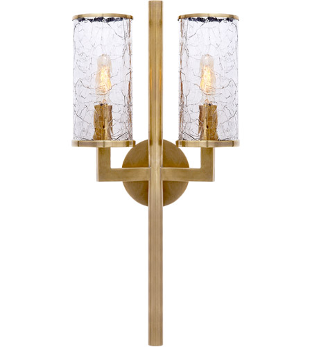 Visual Comfort KW2201AB-CRG Kelly Wearstler Liaison 2 Light 10 inch Antique-Burnished Brass Sconce Wall Light, Kelly Wearstler, Crackle Glass photo