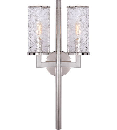 Visual Comfort KW2201PN-CRG Kelly Wearstler Liaison 2 Light 10 inch Polished Nickel Sconce Wall Light, Kelly Wearstler, Crackle Glass photo