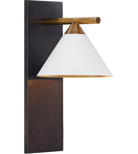 Visual Comfort KW2410BZ/AB-WHT Kelly Wearstler Cleo 1 Light 7 inch Bronze and Antique-Burnished Brass Sconce Wall Light in White photo