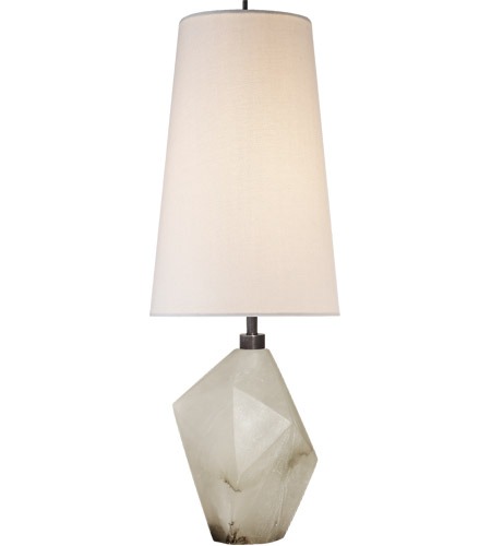 Visual comfort kw3012alb l kelly wearstler halcyon 25 inch 75 watt alabaster table lamp portable light in linen kelly wearstler accent linen shade