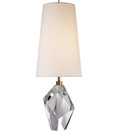 Visual comfort kw3012cg l kelly wearstler halcyon 25 inch 75 watt crystal table lamp portable light in linen kelly wearstler accent linen shade